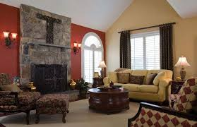 wall color that makes red brick fireplave pop color ideas for