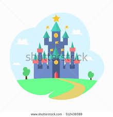 House Flat Design Cartoon Magic Castle Fairytale Medieval House Stock Vector