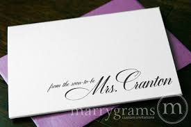 personalized cards wedding personalized wedding cards thank you from the soon to be mrs