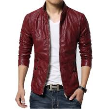 best male clothing shoppig for black friday deals discount new fashion pu leather jacket men black red brown solid