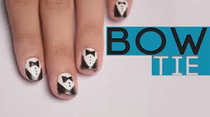 bow nail art diy black and white nail art youtube