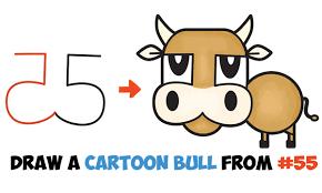 draw cartoon bull numbers u0026 letters easy step