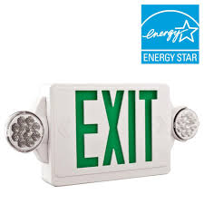 exit emergency light combo lithonia lighting 2 light led white with green stencil exit sign