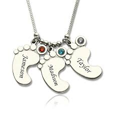 necklace baby images Personalized mothers necklace baby feet charm jpg
