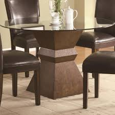 dark brown round kitchen table glass round dining table with square dark brown wooden base