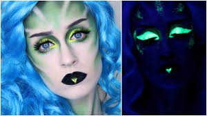 glam alien w a uv twist halloween makeup tutorial youtube