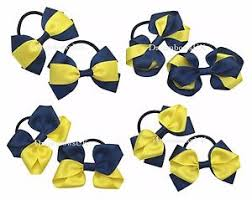 school hair accessories navy blue and yellow school hair bows thick bobbles school hair