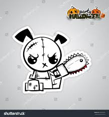 halloween sticker books halloween evil dog blood saw cartoon stock vector 686368336