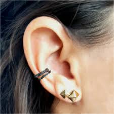 gold ear cuffs single row black diamond ear cuff designer earrings the
