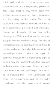 how to write a reflective analysis paper bio reflective 2 png a student uses reflective writing in her eportfolio to highlight her analytical and communication skills and