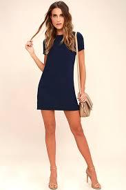 new reaching shift and shout navy blue shift dress