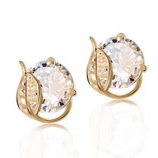 design of gold earrings ear tops beles top grade korean hollow leaf design gold big cz