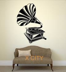 compare prices on bedroom stencils online shopping buy low price classic gramophone music vintage wall art decal sticker removable vinyl record player transfer stencil mural home