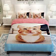 3d oil cute kids cat bed sheet 3 4pc duvet cover without filler