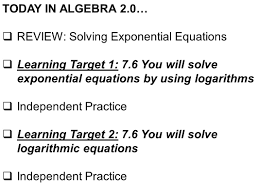 solving exponential equations using logarithms worksheet
