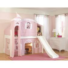 cottage white twin low loft bed with pink and white top tent