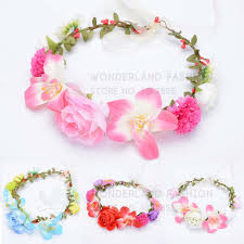 hair accessories for kids polyester colorful bow floral flower garland summer collection
