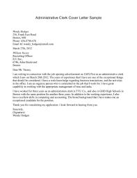 Sample Cover Letter For Law Cover Letter Sample For Clerical Job Resignation Law