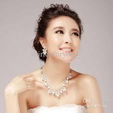 bridesmaid pearl earrings 2018 bridal pearl necklace earrings wedding jewelry set nj 575