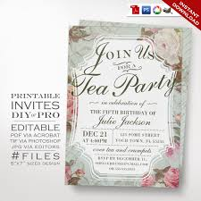 spa invitation template birthday tea party invitation template vintage rose tea