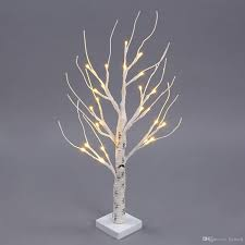 cheap 60cm 24 leds battery operated desk top silver birch twig