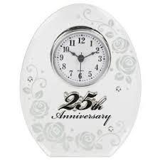 25 year anniversary gift 25th wedding anniversary clock 25 years of marrage silver