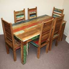 indian wood dining table reclaimed dining table and 6 shutter style chairs jugs