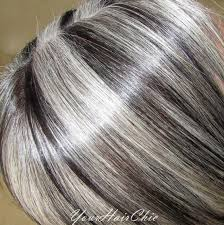 silver hair with lowlights this is a hispanic lady that has turned completely silver i added