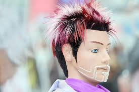 hairstyles to do on manikin manikin with original hairstyle and unusual beard stock photo