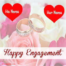 wishes for engagement cards happy engagement greeting card with name photo online name wishes