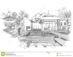 interior architecture construction landscape sketc royalty free