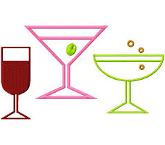 Add Ons Margarita Martini Wine Glasses Outlines Machine