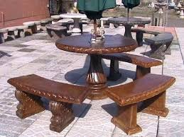 Concrete Patio Table Set Awesome Concrete Patio Table And Image For Cement Garden