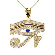 sapphire chain necklace images Yellow gold diamond and sapphire eye of horus pendant necklace jpg