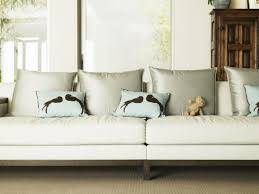 Sofas With Pillows by Furniture Recolor Leather Sofa In Beige With Decorative Pillows