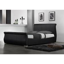 Black Leather Sleigh Bed Bed Black Leather Sleigh Bed