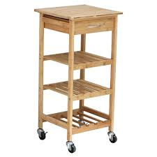 oceanstar bamboo kitchen cart with wine rack bkc1378 the home depot