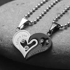 long love heart necklace images Evermarker heart couple necklaces titanium steel evermarker jpg