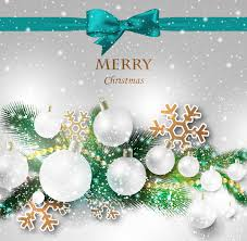 christmas gift card with ribbon and crystal decoration free vector