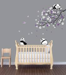 so cute pandas and cherry blossom tree panda decal panda panda nursery decals panda wall decal branch decal