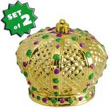 mardi gras crown 4 plastic metallic crown ornaments set of 2 1 240
