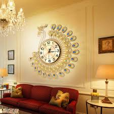 home decor wall clock creative gold peacock large wall clock metal living room watch