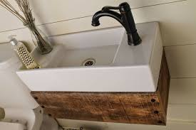 Black Faucet Bathroom by Bathroom Vintage Wood Floating Vanity Featured White Rectangle