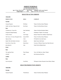 Acting Resume For Beginner Acting Resume Template Free Skills Actors 2012 Professional Actor