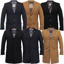 mens wool mix jacket cavani long trench coat slim fit overcoat