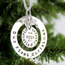 First Christmas Personalized Ornaments - personalized our first christmas ornament sterling silver