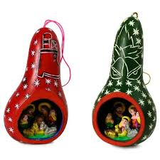 wholesale 6 pack six nativity carved gourd