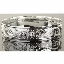 Sterling Silver Engravable Jewelry Sterling Silver Scroll Plumeria Engraving Hawaiian Heirloom Bangle