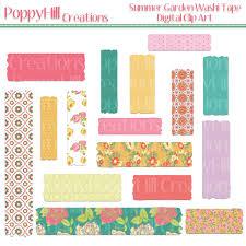 washi tape designs instant download summer garden washi tape clip art for