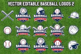 vector editable baseball logos 2 logo templates creative market
